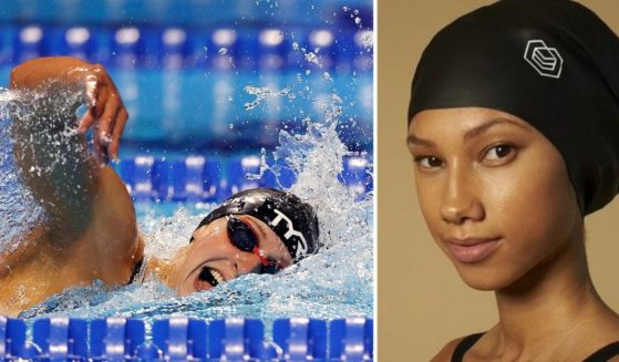 At left, Katie Ledecky competes in the women's 800m freestyle final during the U.S. Olympic swimming trials at CHI Health Center in Omaha, Nebraska, on June 19. At right is the Soul Cap, which is designed to accommodate thick dreadlocks, weaves and braids.