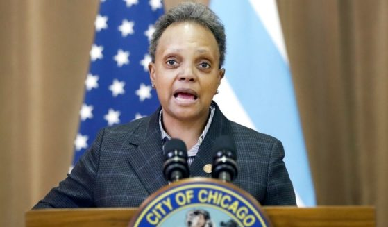 Chicago Mayor Lori E. Lightfoot speaks during a news conference at the city's William H. Brown Elementary School on Feb. 11.