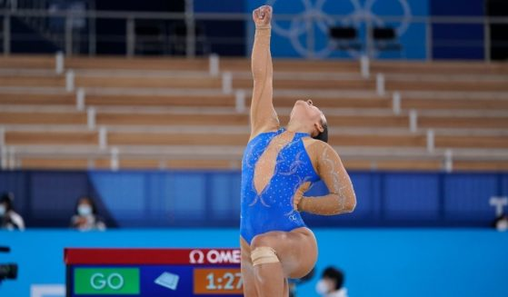 Luciana Alvarado, of Costa Rica, performs on the floor exercise during the women's artistic gymnastic qualifications at the 2020 Summer Olympics Sunday in Tokyo.