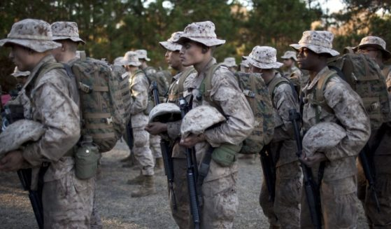 Marine Corps recruits line up in formation during the 54-hour Crucible exercise on Jan. 7, 2011, at the Marine Corps Recruit Depot on Parris Island, South Carolina.