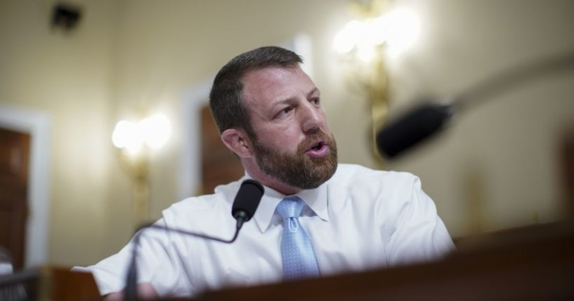 Rep. Markwayne Mullin speaks during a House Intelligence Committee hearing on April 15, 2021, in Washington, D.C.