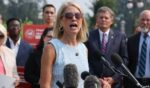 Republican Rep. Mary Miller of Illinois talks to reporters while announcing new anti-abortion legislation with fellow Republicans Rep. Chip Roy of Texas, right, and Sen. Steve Daines of Montana outside the U.S. Capitol in Washington on Wednesday.