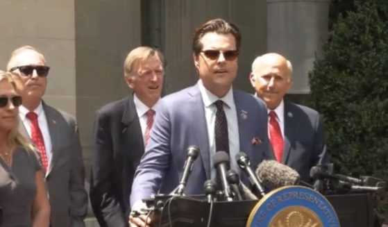Republican Rep. Matt Gaetz of Florida speaks in front of the Department of Justice headquarters in Washington, D.C., on Tuesday.