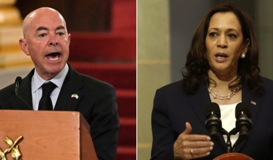 At left, Secretary of Homeland Security Alejandro Mayorkas speaks during a news conference in Guatemala City on Tuesday. At right, Vice President Kamala Harris sends a message to would-be Guatemalan migrants during a news conference at the Palace of Culture in Guatemala City on June 7.