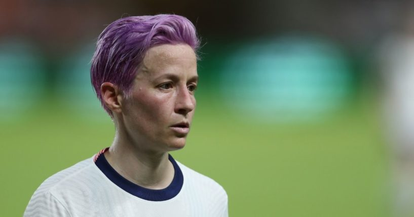 Megan Rapinoe of the United States looks on during the Summer Series game between United States and Portugal at BBVA Stadium on June 10, 2021, in Houston.