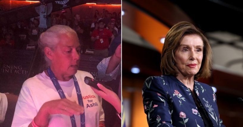 At left, Michelle Witthoeft, the mother of Ashli Babbitt, speaks with The Western Journal. At right, House Speaker Nancy Pelosi speaks at a news conference at the U.S. Capitol.