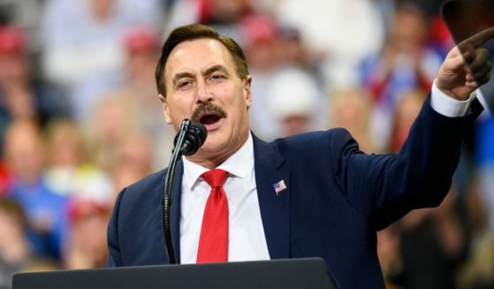 Mike Lindell, CEO of MyPillow, speaks during a campaign rally held by then-President Donald Trump at the Target Center on Oct. 10, 2019, in Minneapolis.