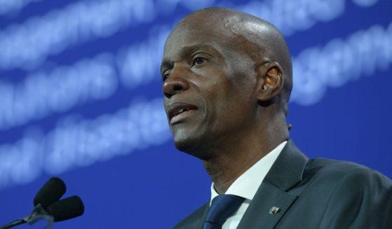Haiti President Jovenel Moïse speaks onstage during the Concordia Summit at the Grand Hyatt in New York City on Sept. 25, 2018.