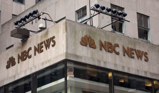 """The NBC News logo is affixed to the corner of 10 Rockefeller Plaza, NBC's """"Today"""" show studio on Dec. 1, 2009, in New York City."""
