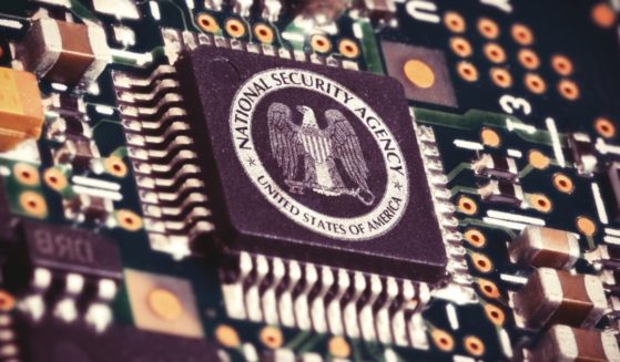 The seal of the National Security Agency is pictured inside a computer.