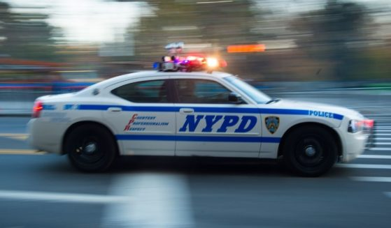 A New York Police Department unit patrols 59th Street before the Macy's Thanksgiving Day Parade on Nov. 26, 2015, in New York City.