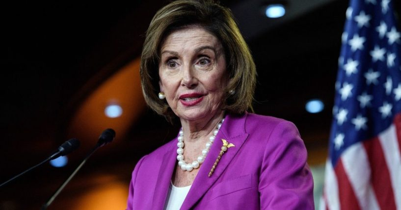 Speaker of the House Nancy Pelosi holds her weekly news briefing on Capitol Hill in Washington, D.C., on Wednesday.