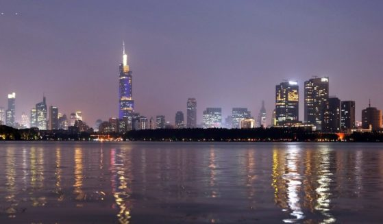 A view of the Nanjing skyline is seen at sunset on Oct. 8, 2018, in Nanjing, China.