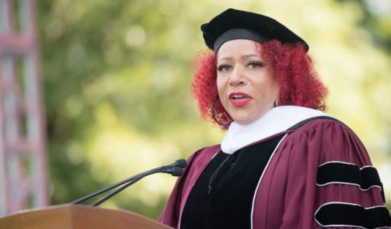 Author Nikole Hannah-Jones speaks on stage during the 137th Commencement at Morehouse College on May 16 in Atlanta.