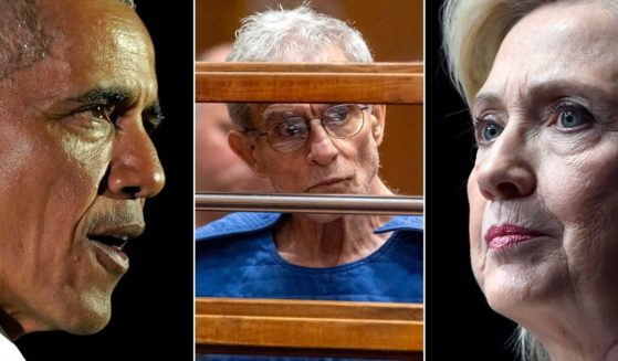 Former President Barack Obama, left, and former presidential candidate Hillary Clinton, right, are among the Democrats who received campaign donations from Ed Buck, center, seen during a Sept. 19, 2019, appearance in Los Angeles Superior Court.