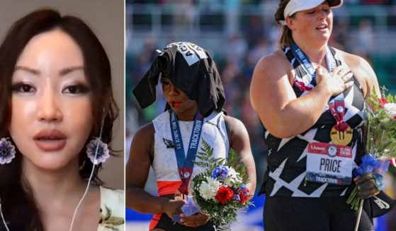 Yeonmi Park, left, a former slave who defected from North Korea in 2007, had strong words on Fox News about Olympic hammer thrower Gwen Berry, seen at right protesting the national anthem next to first-place finisher DeAnna Price on Saturday in Eugene, Oregon.