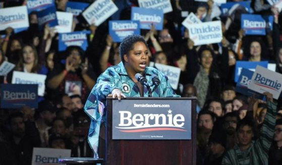 Black Lives Matter co-founder Patrisse Cullors speaks at a Bernie Sanders 2020 presidential campaign rally at Los Angeles Convention Center on March 1, 2020, in Los Angeles.