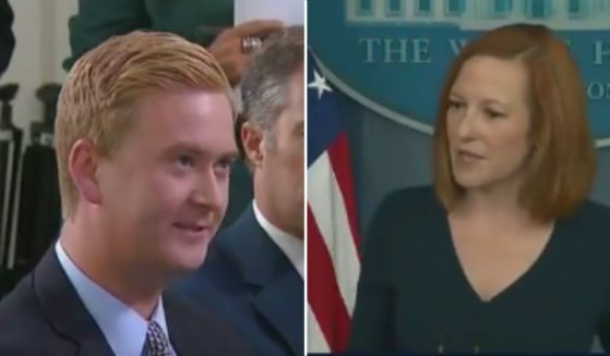 Fox News reporter Peter Doocy savaged White House press secretary Jen Psaki on Friday when she defended a tone-deaf tweet from the official White House Twitter account.