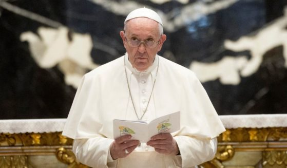 Pope Francis leads a prayer and reflection for peace In Lebanon in St. Peter's Basilica at the Conclusion of the Ecumenical day of Prayer for Lebanon on July 1, 2021 in Vatican City, Vatican.