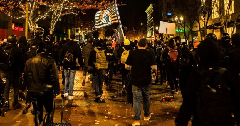 Leftist protesters march in Portland, Oregon, on Nov. 4, 2020.