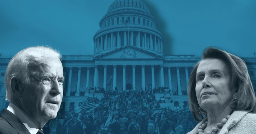 President Joe Biden, left, House Speaker Nancy Pelosi, right, in an illustration with a photo of the Jan. 6 Capitol protest.
