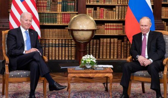 President Joe Biden and Russian President Vladimir Putin meet during the U.S.-Russia met at Villa La Grange on June 16 in Geneva.