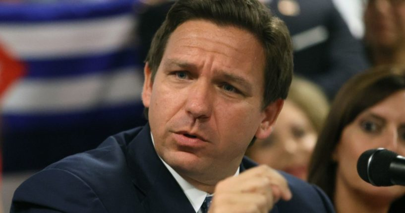 Florida Gov. Ron DeSantis speaks during a roundtable discussion about the uprising in Cuba at the American Museum of the Cuba Diaspora in Miami on July 13.