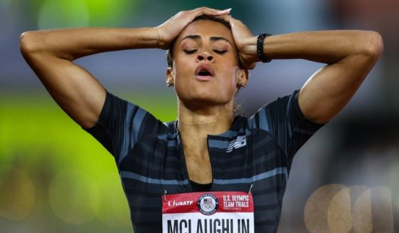 Sydney McLaughlin celebrates winning the women's 400-meter hurdles final during the 2020 U.S. Olympic track and field trials at Hayward Field on June 27, 2021, in Eugene, Oregon.