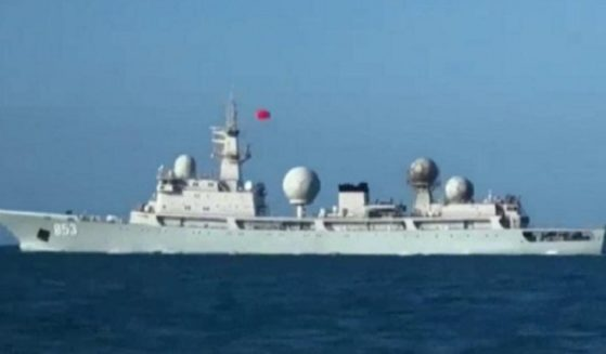 Undated photo of the Tianwangxing., the Chinese spy ship monitoring U.S. naval exercises with Australian allies in the Pacific.