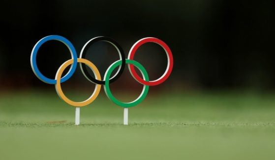 A detailed view of an Olympic rings tee marker is seen during the first round of the men's individual stroke play on day six of the Tokyo 2020 Olympic Games at Kasumigaseki Country Club on Thursday in Kawagoe, Saitama, Japan.