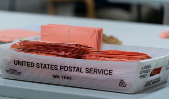 Provisional ballots are seen in a postal service tray at the Gwinnett County Board of Voter Registrations and Elections offices on Nov. 7, 2020, in Lawrenceville, Georgia.