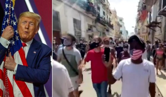 At left, then-President Donald Trump hugs the American flag during the annual Conservative Political Action Conference at the Gaylord National Resort and Convention Center in National Harbor, Maryland, on Feb. 29, 2020. At right, Cubans display the flag as they take to the streets in protest.