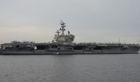 This photo taken on June 26, 2018, shows the nuclear-powered aircraft carrier USS Ronald Reagan (CVN-76) anchored off Manila Bay.