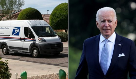 The American Postal Workers Union is opposing an order from President Joe Biden, right, which requires federal employees to get the coronavirus vaccine or be subject to regular testing.