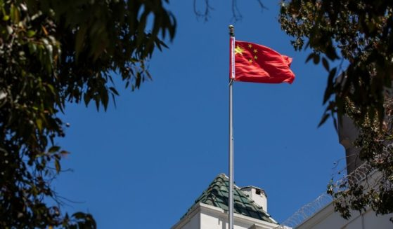 The flag of the People's Republic of China at the Consulate General of the People's Republic of China in San Francisco, California on July 23, 2020.