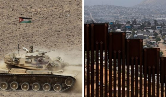 A Jordanian tank, left; and a portion of the souther border wall, right.