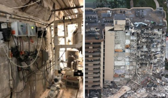 Cracked concrete and water on the floor of a pool equipment room, left, were so concerning to a contractor at the Champlain Towers South codominium that he took pictures only 36 hours before the building's collapse, right.