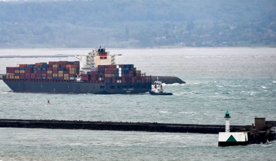 The cargo ship Tyndall, pictured in file photo entering Le Havre harbor in northern France in May 2019.