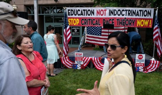 Protesters demonstrating against critical race theory in Loudoun County, Virginia, schools.