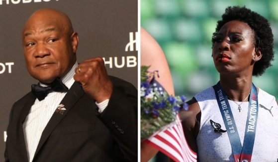 Boxing great George Foreman, left; anthem-protesting Olympian Gwen Berry, right.