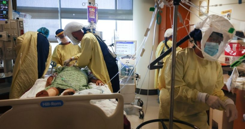 Physicians and medical staff care for a COVID-19 patient in December in the intensive care unit at Sharp Grossmont Hospital in La Mesa, California, in the southernpart of the state.