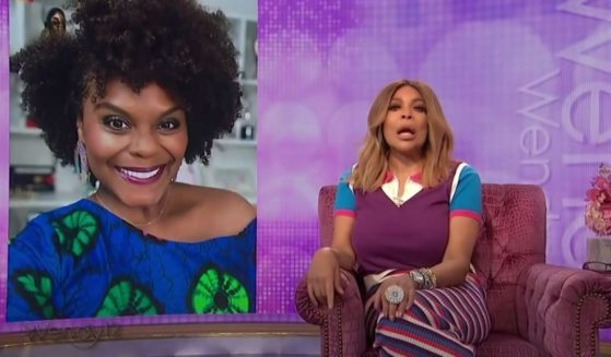 Talk show host Wendy Williams, right, discusses the marriage of actress Tabitha Brown, left, on July 1, 2021.