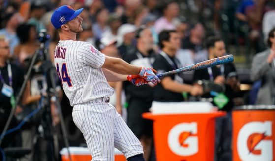 New York Mets first baseman Pete Alonso swings for the fences Monday during the Major League Baseball's Home Run Derby at Coors Field in Denver.