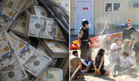Bag of cash, left; protesters arrested, right.