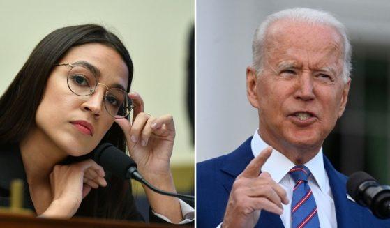 Alexandria Ocasio-Cortez, left; and President Joe Biden, right.