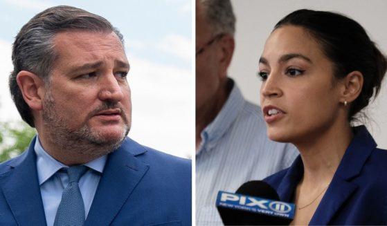 Texas Sen. Ted Cruz, left; Rep. Alexandria Ocasio-Cortez, right.