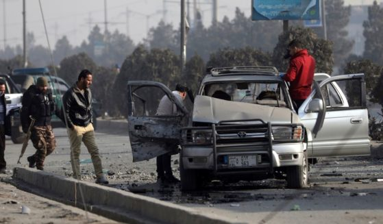 The wreckage of a bomb attack in Kabul, Afghanistan, is pictured in Feb. 2 file photo.