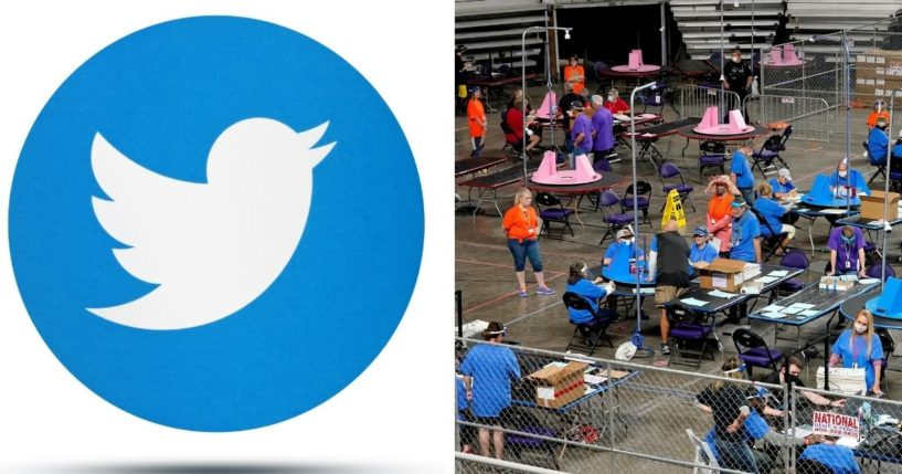 Twitter logo, left; and right, a scene from the Maricopa County audit in May.