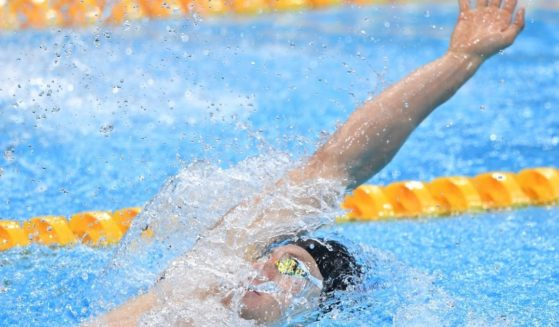 Ryan Murphy of the United States competes in the men's 200-meter backstroke at the Tokyo Olympics on July 30, 2021. Murphy took the silver medal.