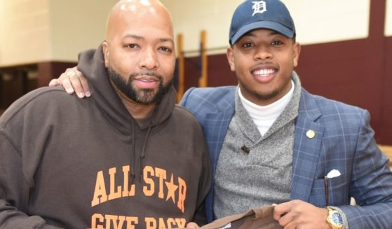 All Star Give Back founder Tarence Wheeler and Michigan state Rep. Jewell Jones, right, attend a Give Back event in Detroit on Nov. 21, 2017. Jones has been involved in several questionable events since then.